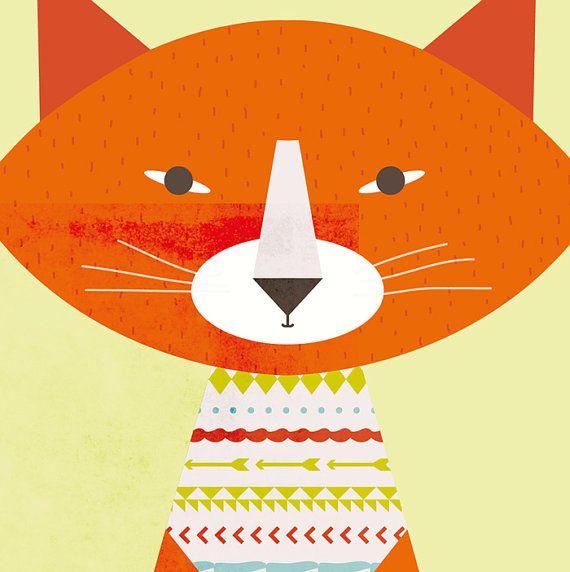 Illustration originale avec un chat protecteur en couleur qui peut être encadré (cadre non fourni) Imprimée professionnellement sur papier épais