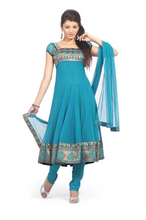 $79.49 Blue Cap Sleeve Net Anarkali Salwar Kameez 18062