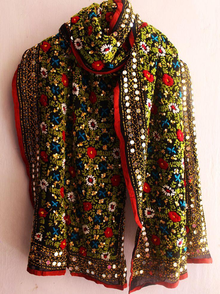 Shop online Black phulkari embroidered stole. #phulkari #punjabi