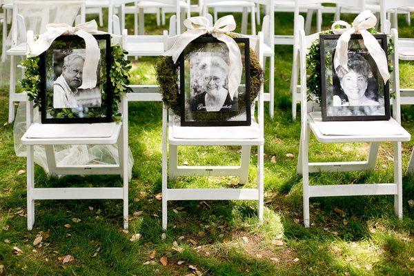 honoring loved ones wedding chair / http://www.deerpearlflowers.com/ways-to-honor-deceased-loved-ones-at-your-wedding/