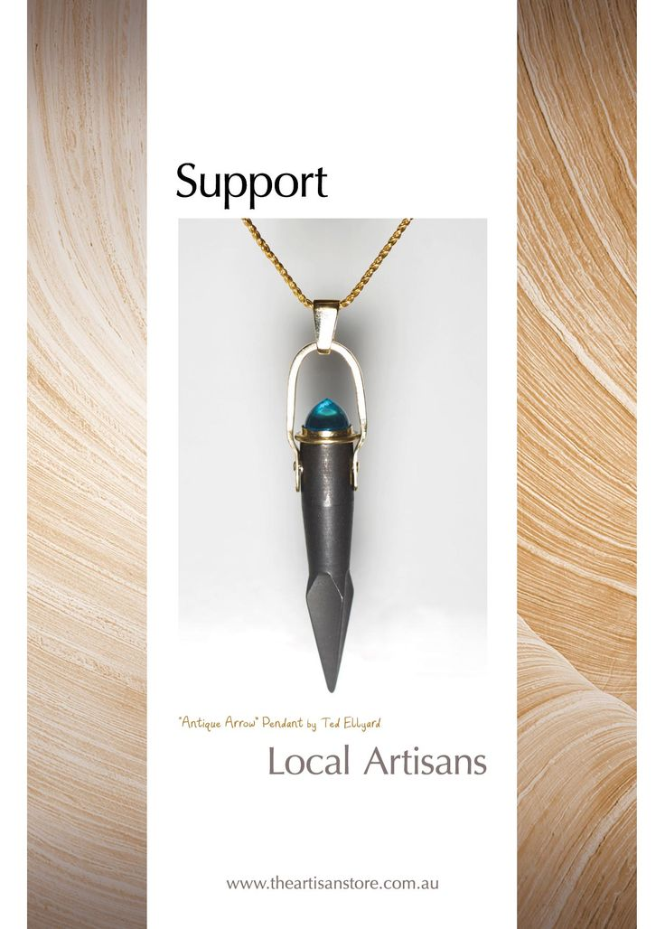 "More postcards from The Artisan Store - with the spotlight on Ted Ellyard Jewellery Designs and his ""Antique Arrow"" Pendant Ancient arrowhead (replica from Italian castle)  with Topaz gemstone and set with 18ct gold hinge and bail."