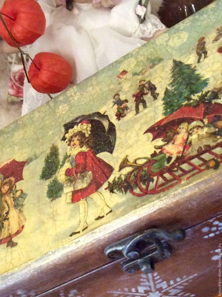 Купить Зимнии забавы - коричневый, Новый Год, новый год декупаж, новый год подарок, москва