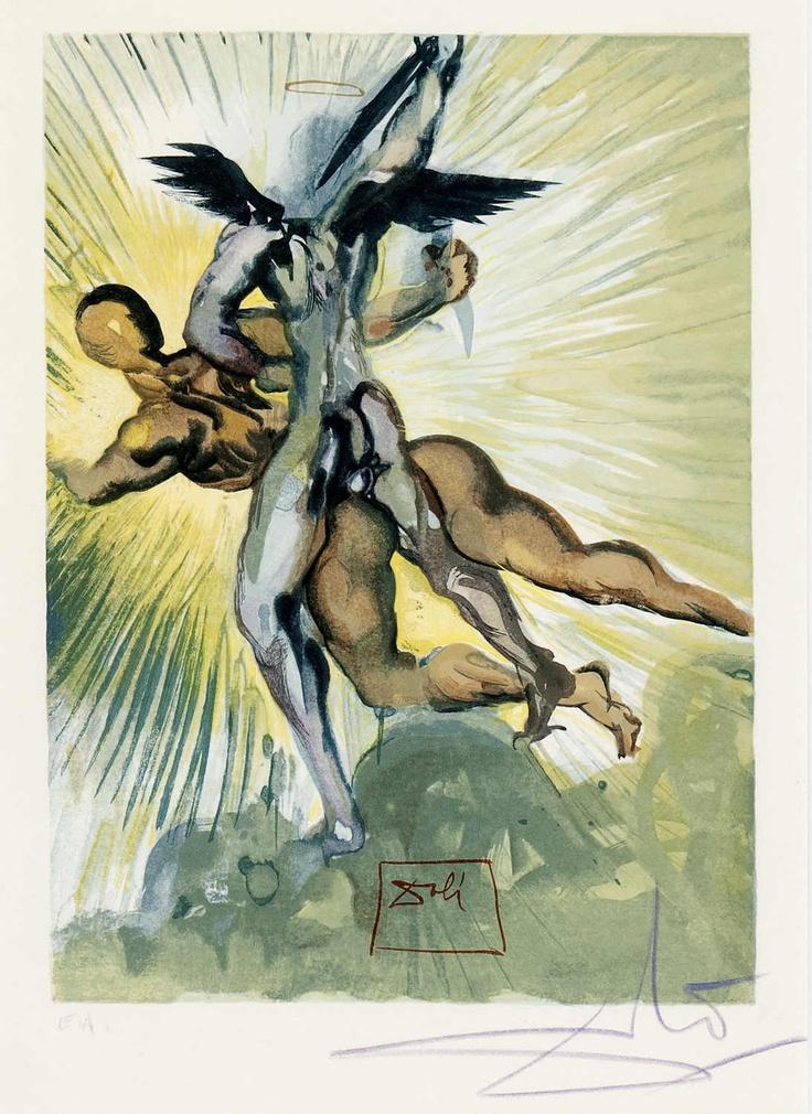 "DALI, Salvador (1904-1989) ""I Guardini Della Valletta Dei Principi"" Farbholzschnitt aus der Serie ""La Divina Commedia"", Dantes göttliche Komödie, rechts unten bezeichnet E.A. Rahmen: H= 43,0 B= 33,0cm Grafik: H= 40,5 B= 30,0cm    Dealer  Gut Bernstorf    Auction  Minimum Bid:  1500.00EUR"