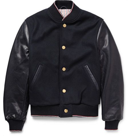 Thom BrowneCashmere-Trimmed Melton Wool and Leather Bomber Jacket