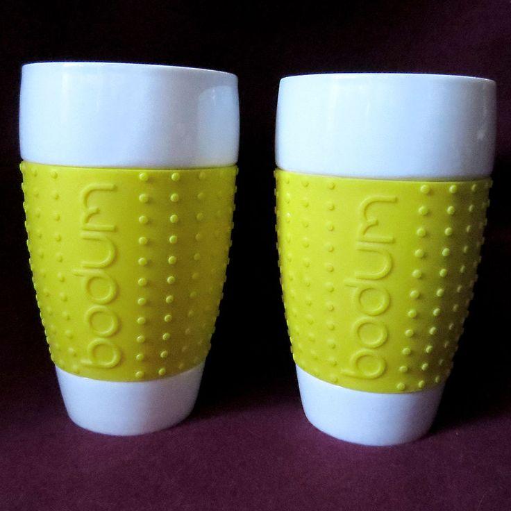 Awesome 2 Bodum Pavina Tall Travel Glasses Mugs Yellow Silicone Grip 17oz 0.5L  Swiss #Bodum Design