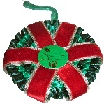 Christmas rosette decorations can also be inscribed upon by request or used to promote your company, contact Rosettes Spain ~ Escarapelas España search for us in Google!