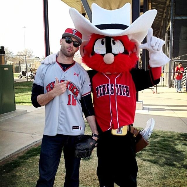 Texas Tech. New Head Football Coach Kliff Kingsbury and Raider Red @ Texas Tech baseball game.
