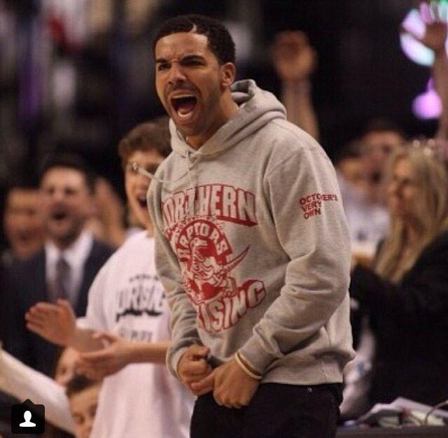 Drake at Toronto Raptors playoff game.