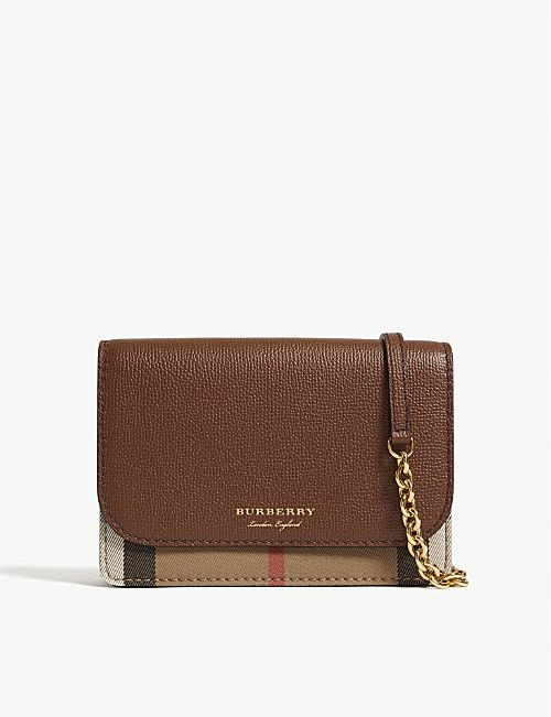 BURBERRY Hampshire check leather wallet-on-chain  7b1c50add2477