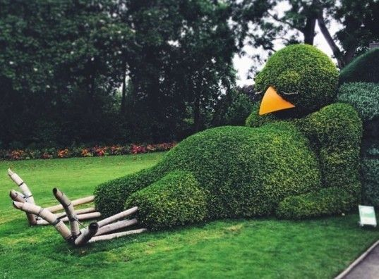 Tired chicken garden topiary / Garden Art