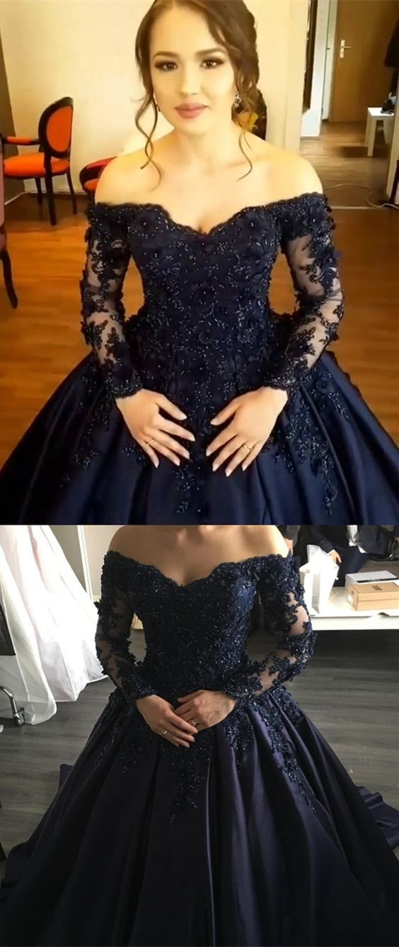 93e7f47f29d Ball Gown Off-the-Shoulder Long Sleeves Navy Blue Gorgeous Prom ...