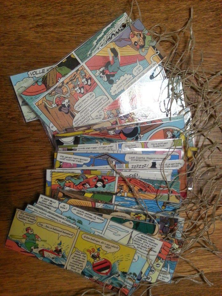 Boekenleggers van Donald Duck strip. Geplastificeerd en met lintje. Voor traktatie.