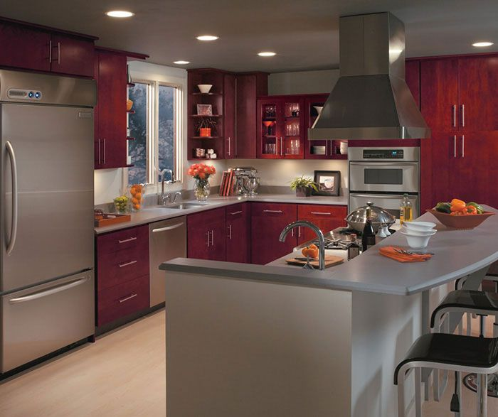 Burgundy kitchen cabinets by homecrest cabinetry for Burgundy kitchen cabinets pictures