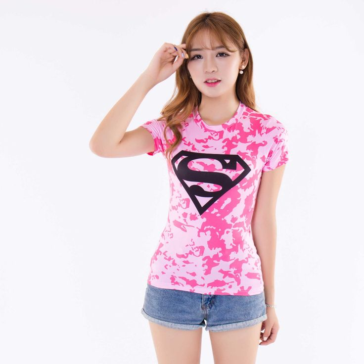 Women sports gym superman t shirt quick dry compression armour tee shirts women running lycra under tops tights poleras de mujer