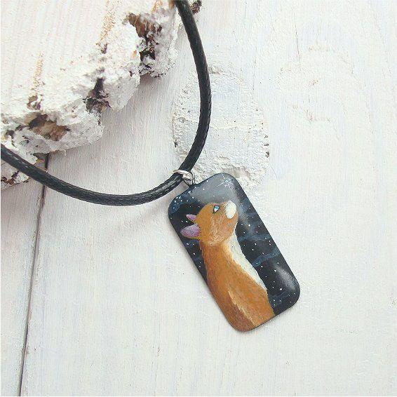 Cat pendant cat necklace painted pendant wooden pendant