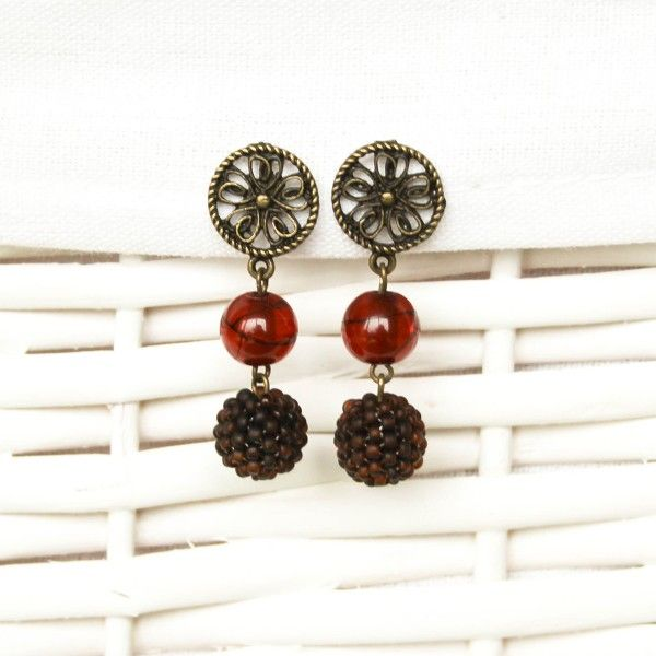 Brown and bronze beaded earrings