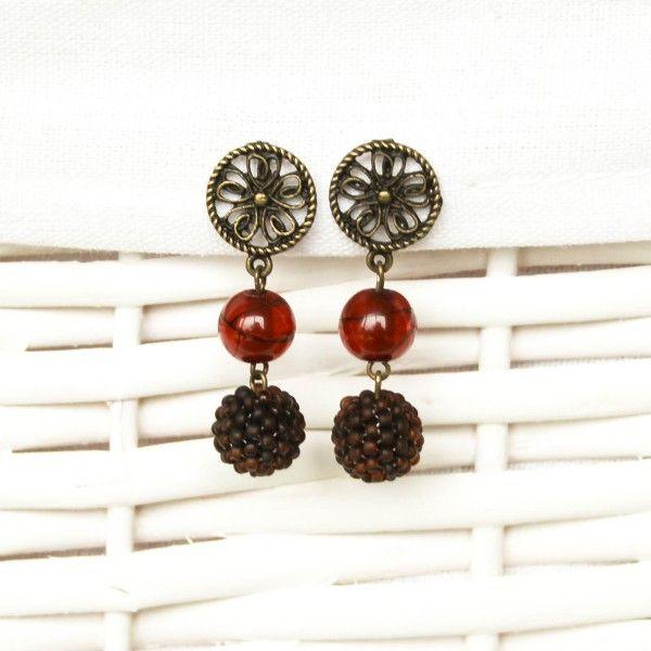 Brown and bronze beaded earrings