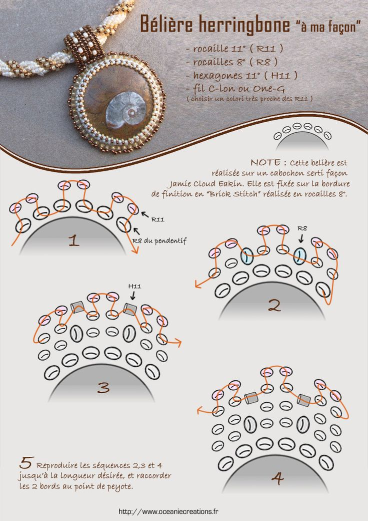 Herringbone bail. Diagram, instructions in French. Note how the white beads are inserted.  #seed #bead #tutorial