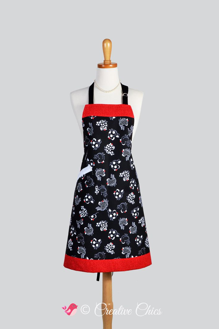 White apron etsy - Apron Single Sided Vintage Chef Apron Vintage French Country Roosters Black And Red Chef Apron With Large Pocket