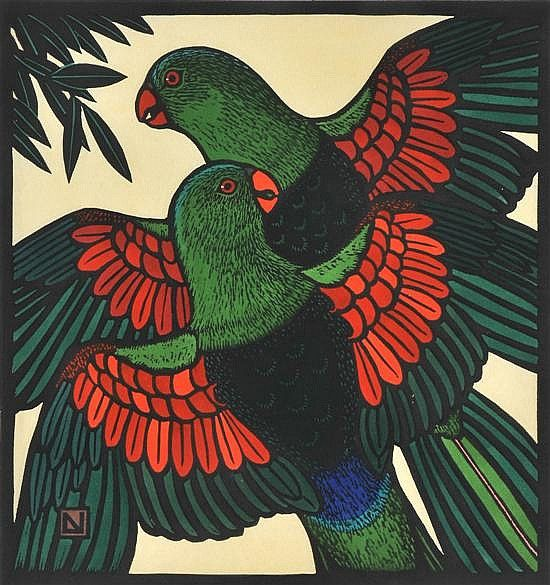 Leslie van der Sluys - Red Winged Parrots 1988