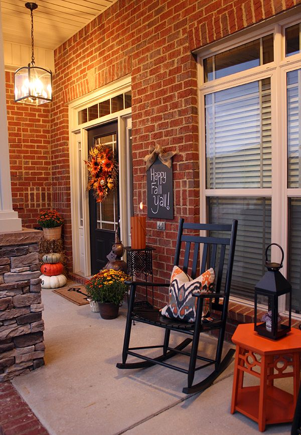 Orange and black fall front porch from For Chic Sake