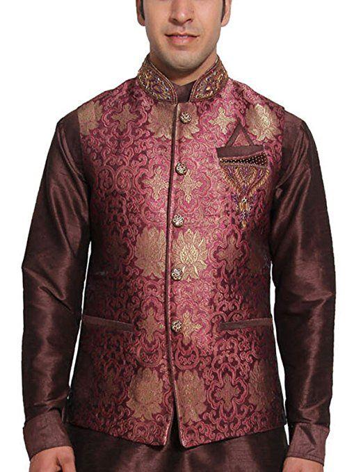 Traditional Mens Waistcoat Designer Red Nehru Jacket Wedding Wear Vest
