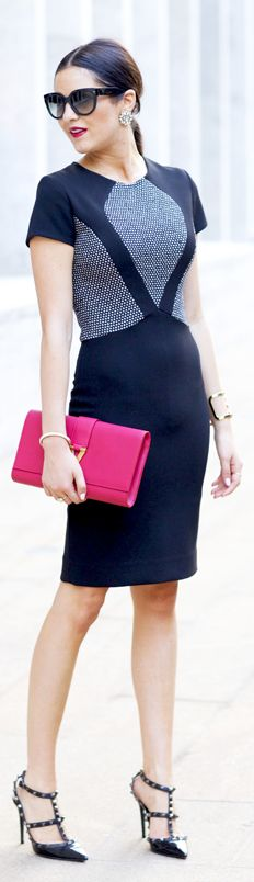 sexy fall street style - Nyfw: Tiffany Atlas Event... by Pink Peonies with pop of pink clutch bag