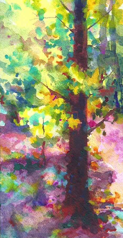 Dappled Light Through Tree Canopy - watercolor by Talya Johnson