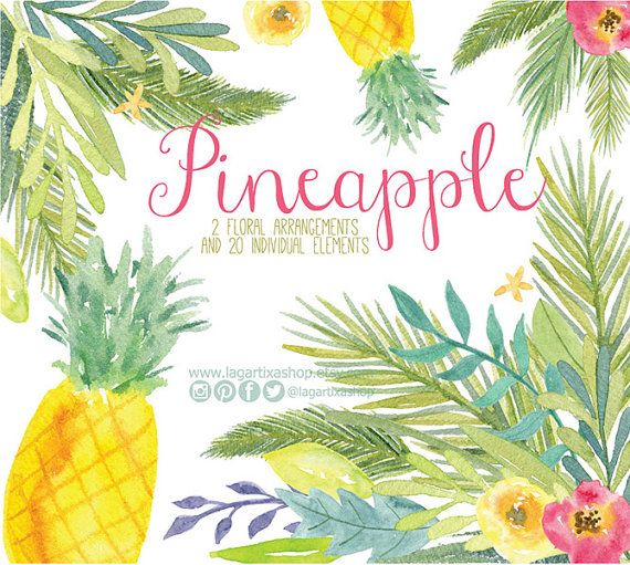 Pineapple Watercolor clipart, Florals PNG, hawaiian wedding bouquet, arrangement, digital paper, flowers, bridal shower, for blog banner