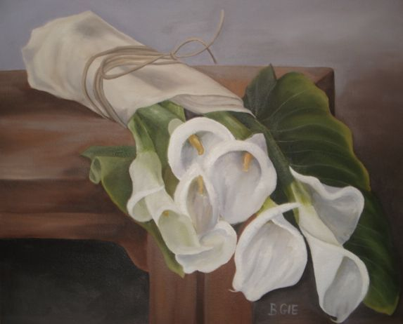 Oil painting of bunch of Arums painted by Bernadette Gie