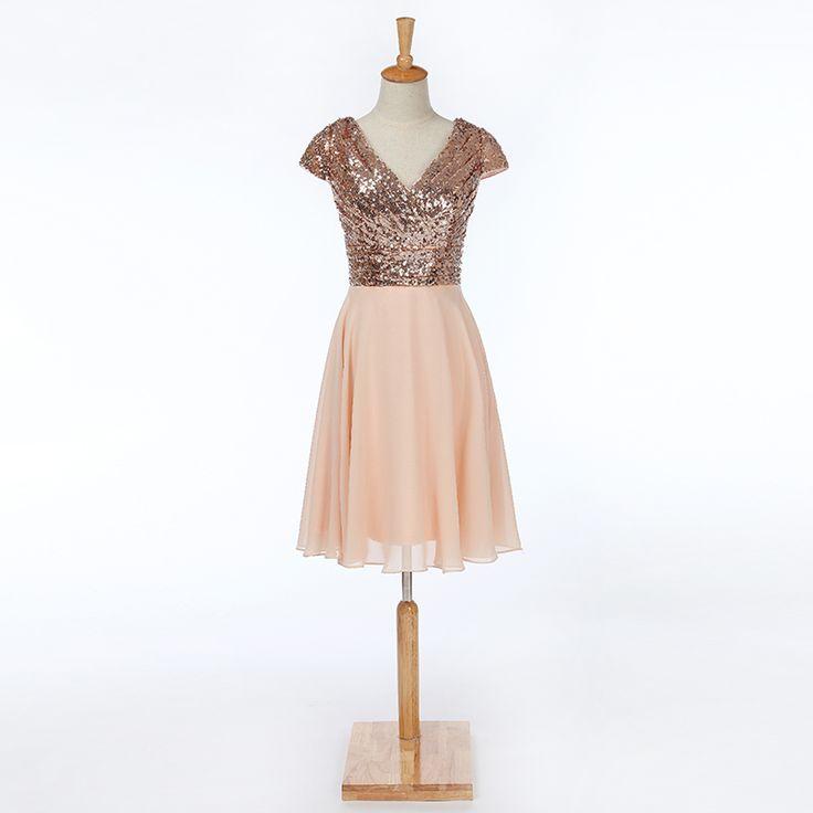 Cap Sleeves A Line V Neck Sequined Short Bridesmaid Dress - Uniqistic.com