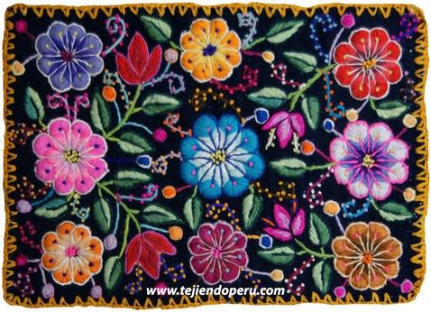 Perú: bordados. Individual tejido por artesanos de Ayacucho, Perú.  Está hecho en telar y bordado con lana de oveja!