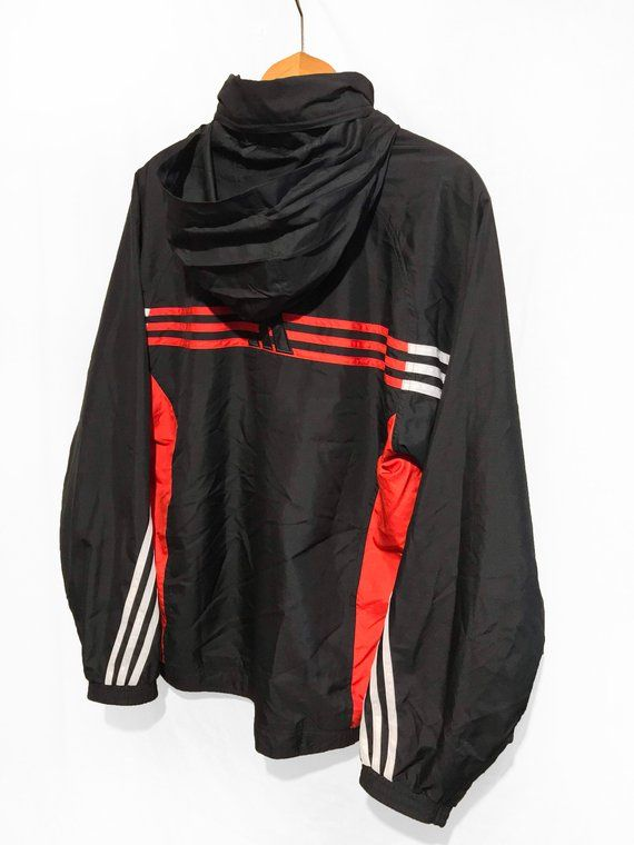 Vintage Adidas Windbreaker Tracksuit Top Jacket Red White Black Size