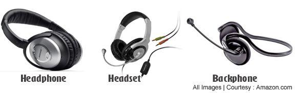 Differences of Headphones vs Headset vs Backphones
