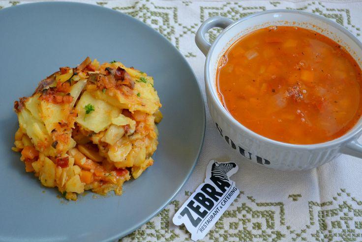 Ciorba de fasole (400ml) Musaca de cartofi cu legume si ciuperci (200g)