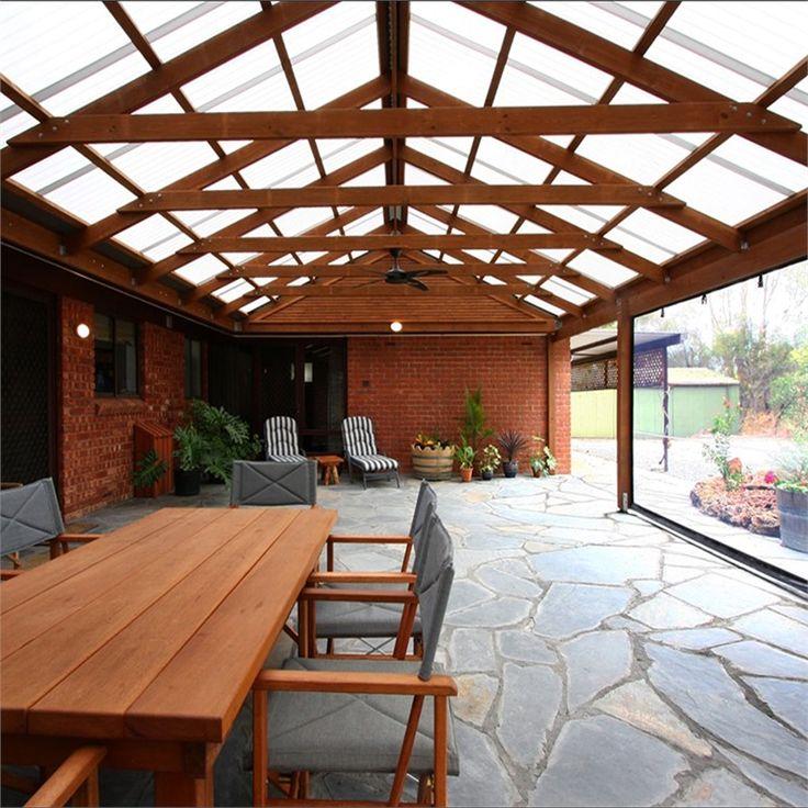 Softwoods 10.8 x 4.3m Suntuf Standard Gable Roof Pergola ...
