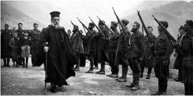 Greece, 1944: Ioachim, the orthodox bishop of Chios (1880-1948), who joined the partisans against German occupation, refused to accept the decision of the Holy Synod of the Church of Greece to excommunicate all pro-communist DSE (Democratic Army of Greece) members; for this reason, the Archbishop and Vice-Roy Damaskenos dismissed Ioachim in 1946, who died four years later. Here Ioachim inspects a DSE squadron.
