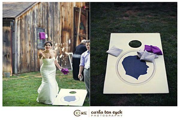 custom cornhole boards with cameo silhouettes