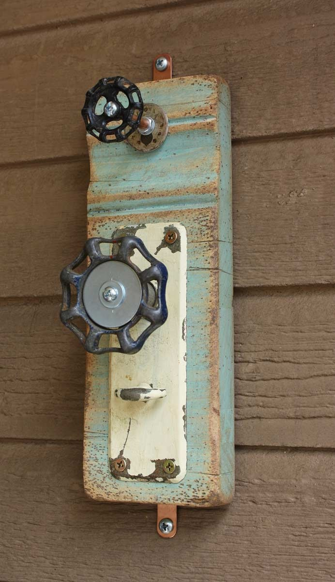 Reserved Item......Blue Green Coat Rack Garden Faucet Handle Door Plate and Wrist Watch Face Repurposed Upcycled Baseboard Distressed No. 10