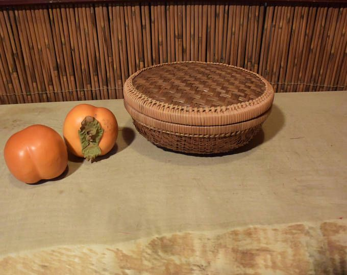 Vintage Asian Bamboo Grass Basket With Lid