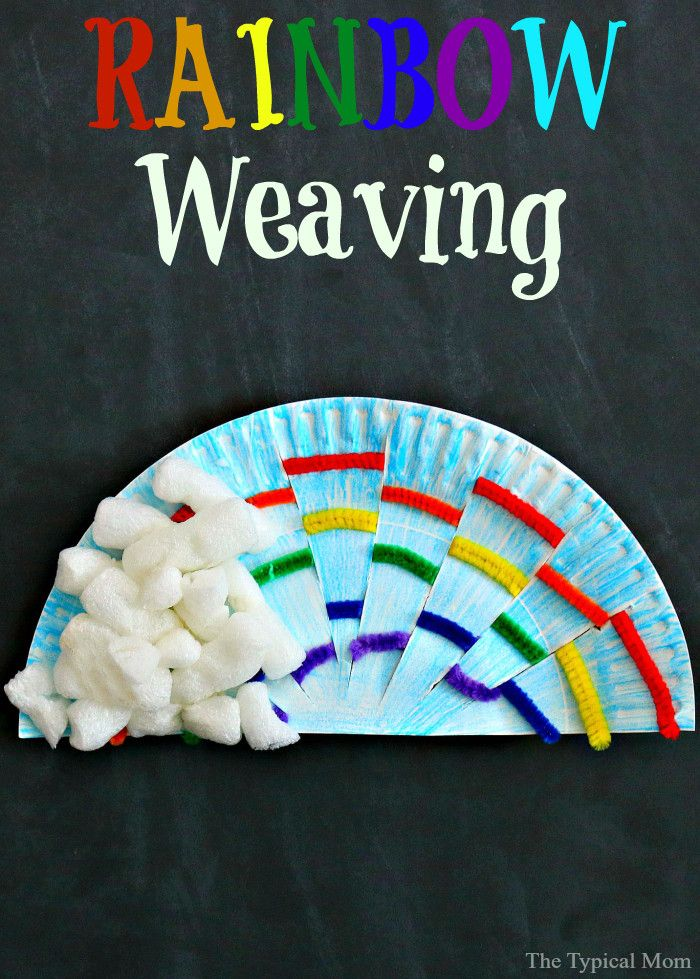 Rainbow paper plate weaving craft for kids
