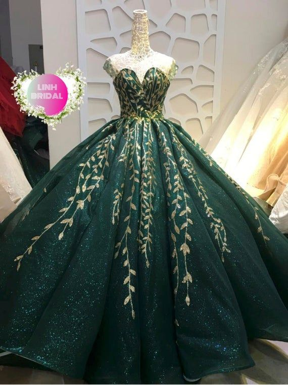 Beautiful Wedding Gown Dress Made To Fit Your Measurements Stand Out From The Crowd With Either Of These 2 Green In 2020 Ball Gowns Ball Dresses Green Wedding Dresses