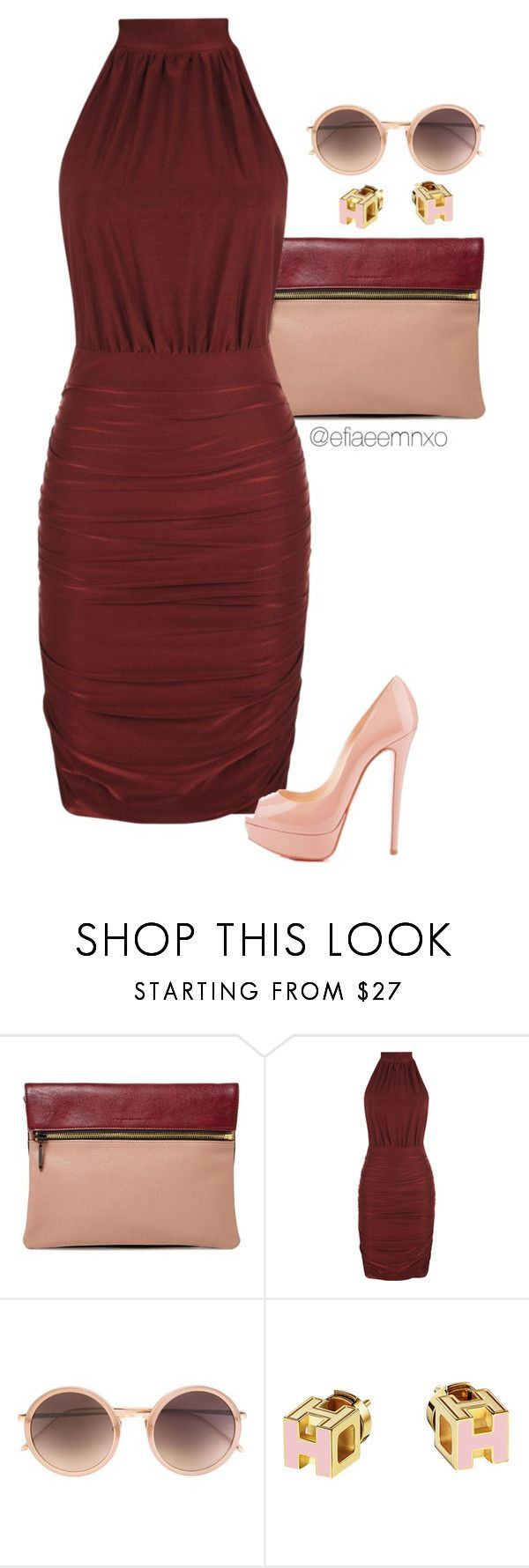 """""""Marsala x Blush"""" by efiaeemnxo ❤ liked on Polyvore featuring French Connection, WearAll, Christian Louboutin and Linda Farrow"""