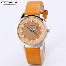 Mujer ATRACTIVA del negocio del ocio de moda dial redondo reloj de cuero única segunda mano marca correa relojes hermosa estudiante reloj(China (Mainland))
