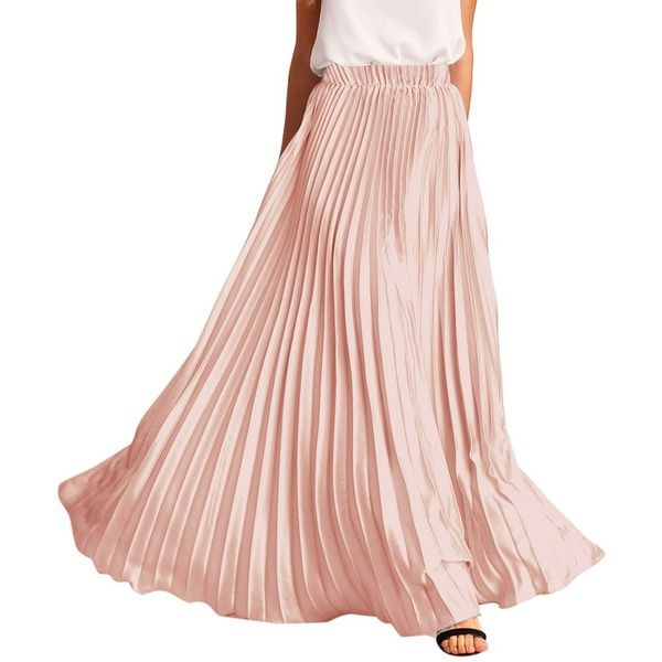 ROMWE Women's Retro Vintage Summer Chiffon Pleat Maxi Long Skirt (€21) ❤ liked on Polyvore featuring skirts, pink maxi skirt, summer maxi skirts, pink chiffon maxi skirt, pleated chiffon skirt and pleated chiffon maxi skirt
