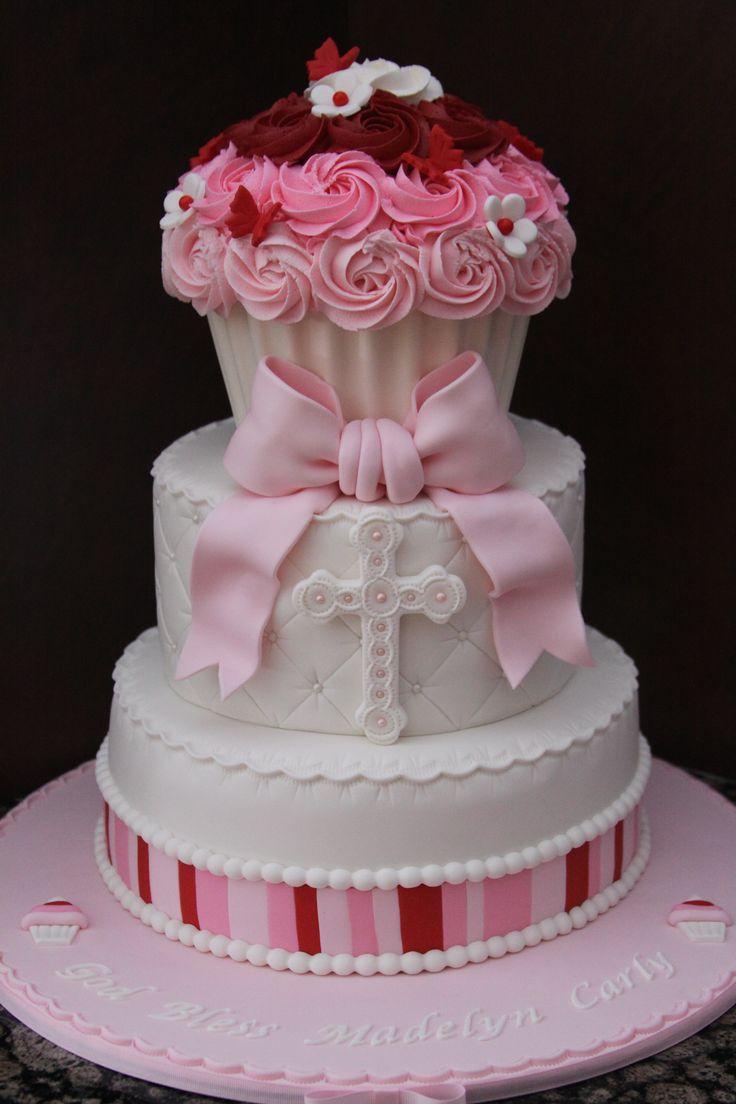Cupcake Christening Design : Cupcake Baptism Cake - Giant cupcake made with chocolate ...