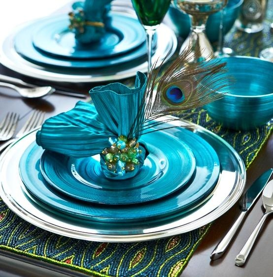 Feather your holiday nest with a Pier 1 Beaded Peacock Table Runner and Peacock Metallic Dinnerware & 120 best Teal Weddings images on Pinterest | Table decorations ...