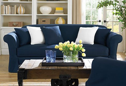 Twill Supreme Separate Seat Slipcovers - Navy Sofa $119.99