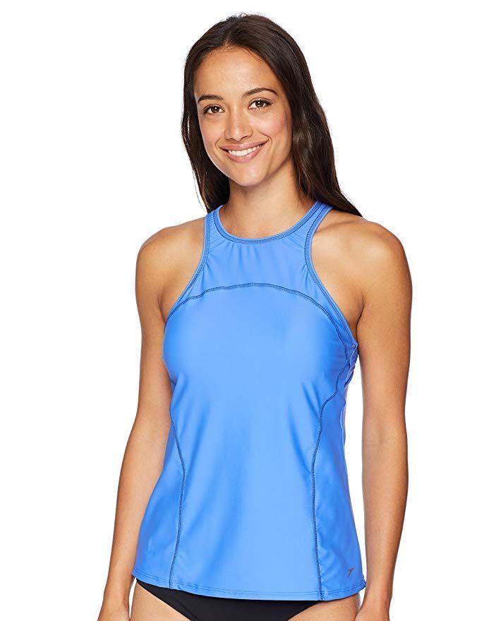 afb0f564fe AmazonSmile: Speedo Women's PowerFLEX Eco High Neck Tankini Swimsuit:  Gateway