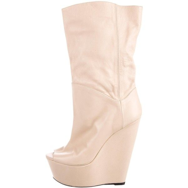 Pre-owned Gianmarco Lorenzi Leather Wedge Mid-Calf Boots ($145) ❤ liked on Polyvore featuring shoes, boots, neutrals, leather boots, mid calf leather boots, midi boots, genuine leather boots and cream wedge boots